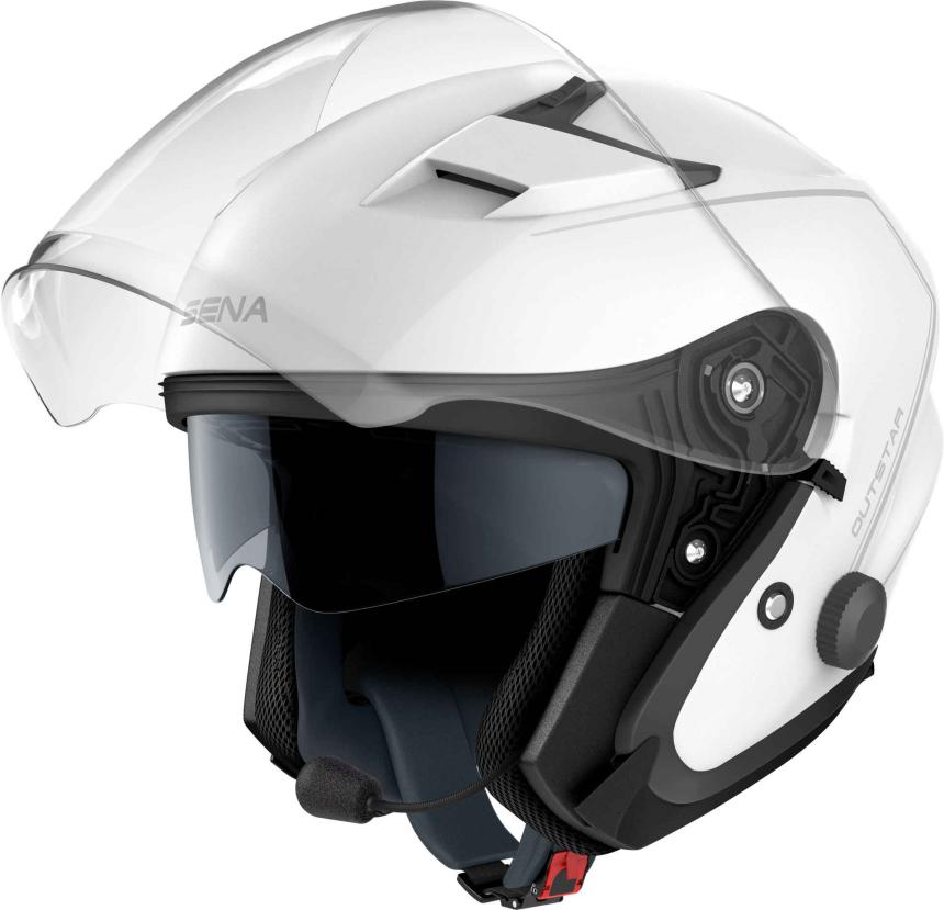 OUTSTAR - Smart Motorrad-Jethelm (ECE) - weiss glänzend (M)