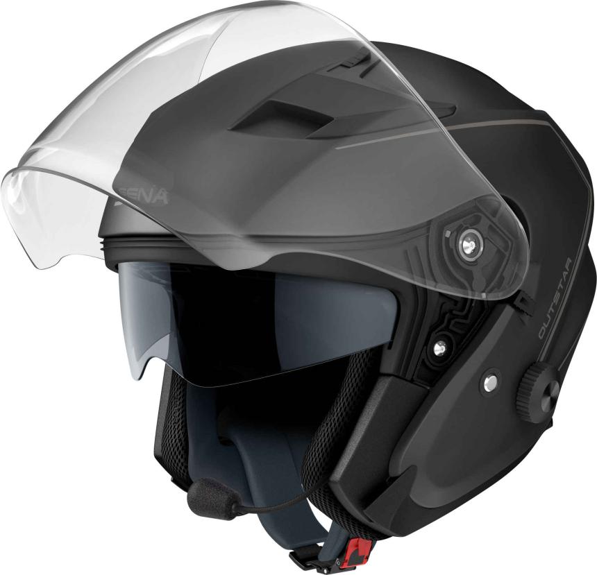 OUTSTAR - Smart Motorrad-Jethelm (ECE) - schwarz matt (M)