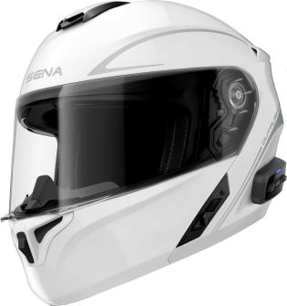 OUTRUSH R - Smart Motorrad-Klapphelm (ECE) - weiss glänzend (L)