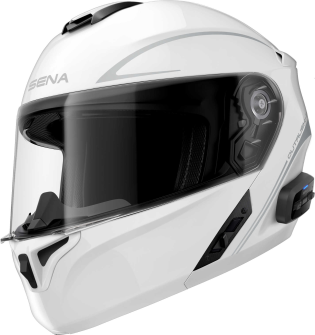 OUTRUSH R - Smart Motorrad-Klapphelm (ECE) - weiss glänzend (S)